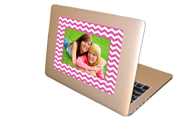 bright pink custom photo laptop skin stocking stuffer for tweens and teens