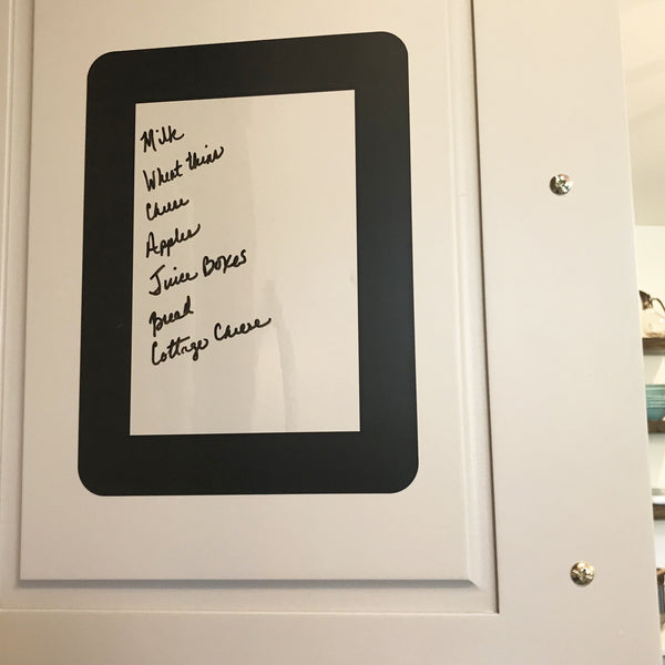 grocery list inside cabinet using peel and stick dry erase photo frame for non magnetic stainless steel