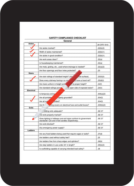 Dry erase adhesive safety checklist