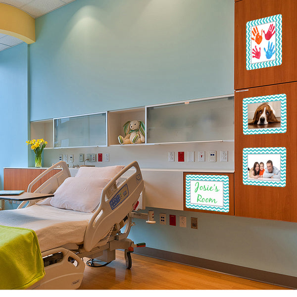 peel and stick reusable adhesive picture frame for childrens hospital room