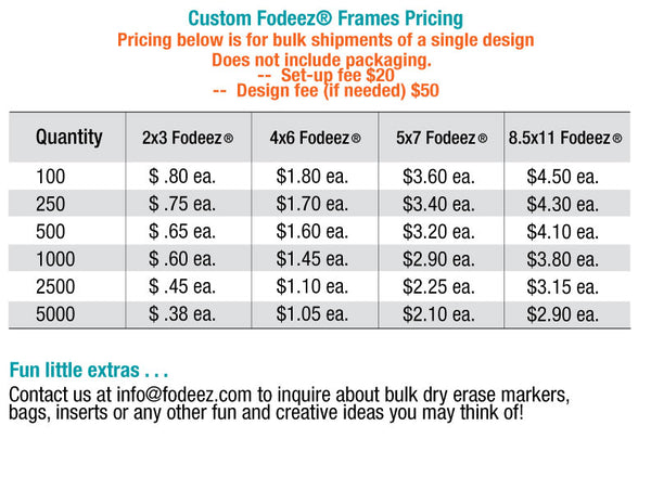 Pricing for custom reusable adhesive dry erase frames in bulk