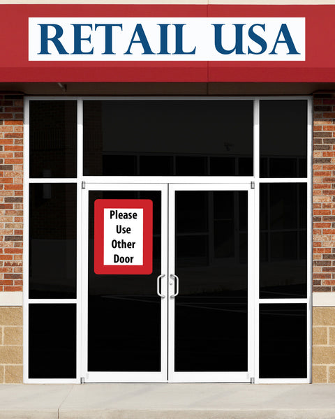 Stick reusable adhesive exterior sign holder for retail stores and other buildings
