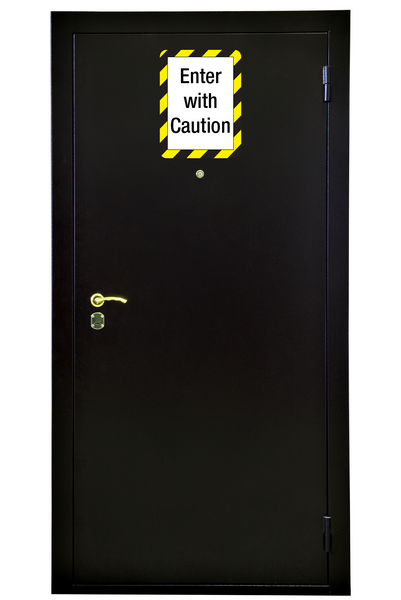 reusable adhesive exterior sign holder for outdoor safety signage