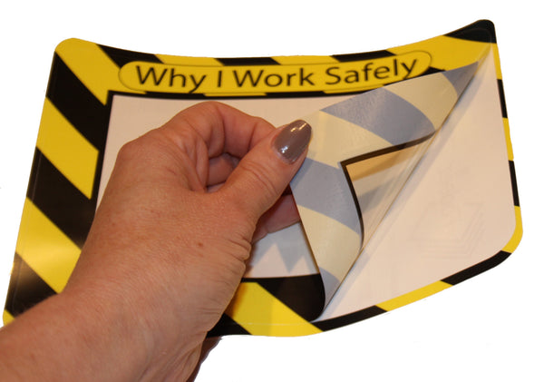 reusable adhesive safety label to remind employees to work safely