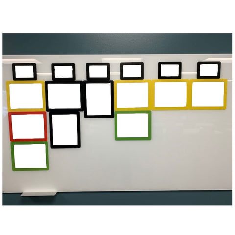 whiteboard for goal planning using peel and stick reusable photo frames with dry erase