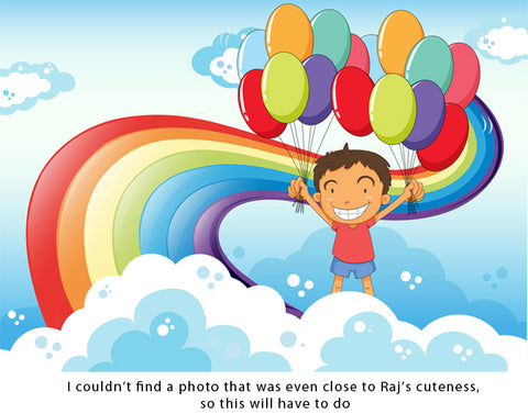 happy boy with balloons self stick reusable adhesive picture frame