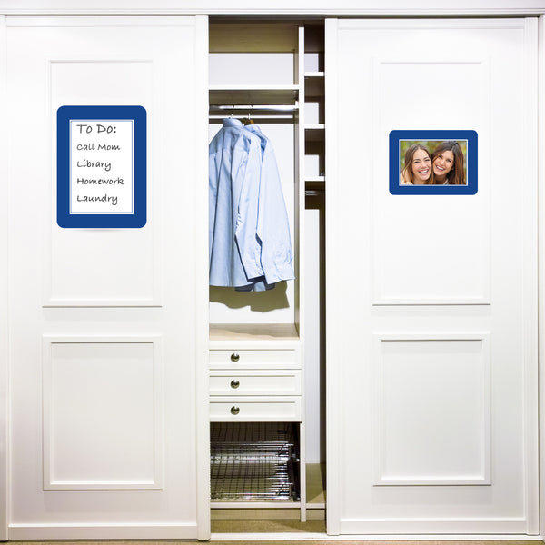 Reusable adhesive dry erase board on closet doors for dorm room decorating