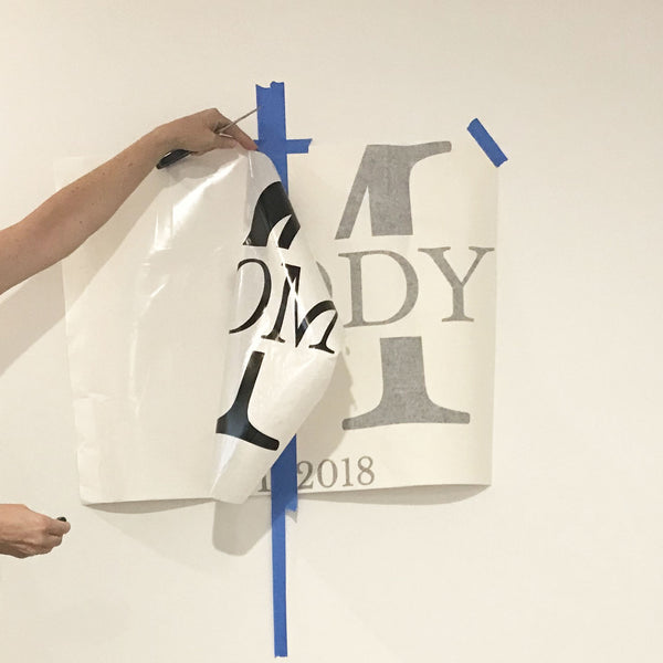 how to pull away liner from custom monogram vinyl wall decal