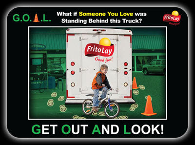 frito lay customized peel and stick safety label for truck drivers get out and look