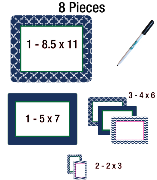 Multi-Pack of Self-Stick Picture Frames in Coronado Patterns - Fodeez® Adhesive Display Frames / Dry Erase Boards  - 6