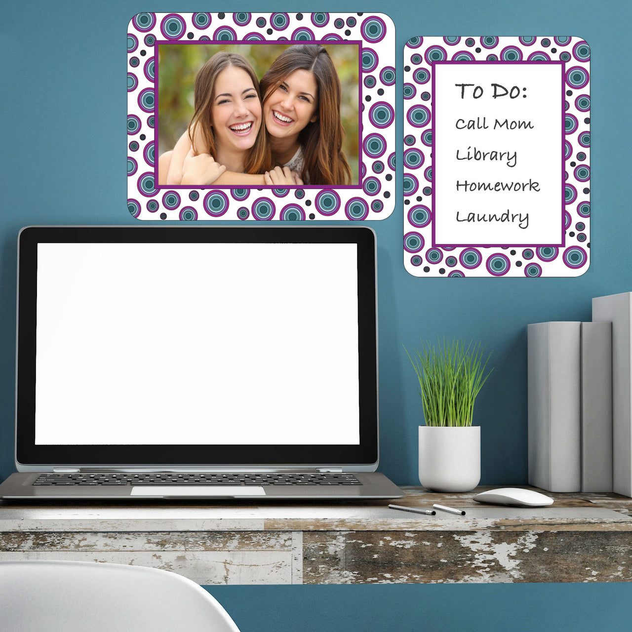 Agate Dot Aqua Self-Stick Picture Frames Collection