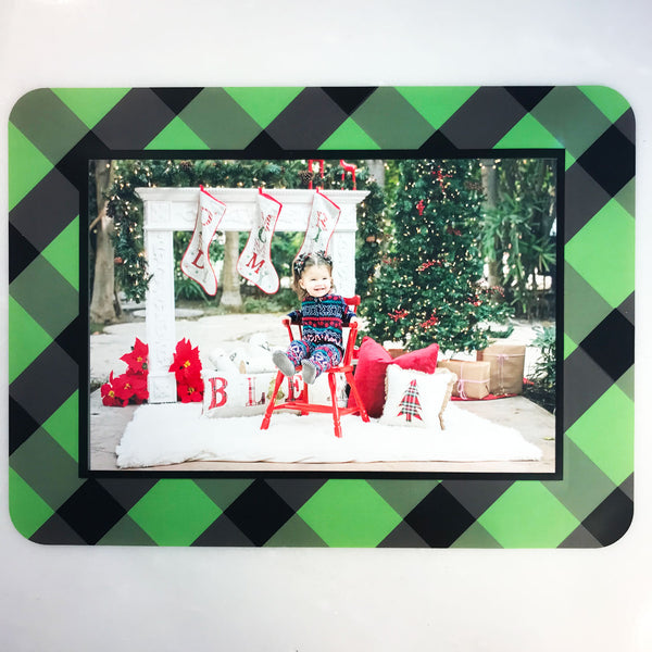 Buffalo Check Plaid Green & Black Self-Stick Picture Frames Collection