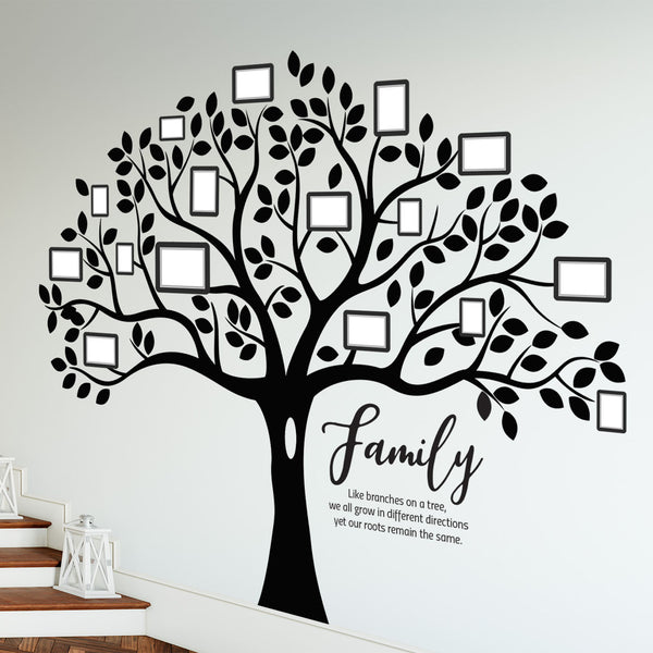 Family Trees - 6 ft. x 7 ft. Vinyl Decal Tree with Family Text