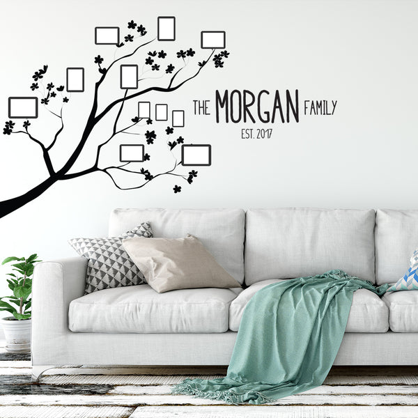 Family Trees - 4 ft. x 5 ft. Vinyl Decal Tree with Last Name