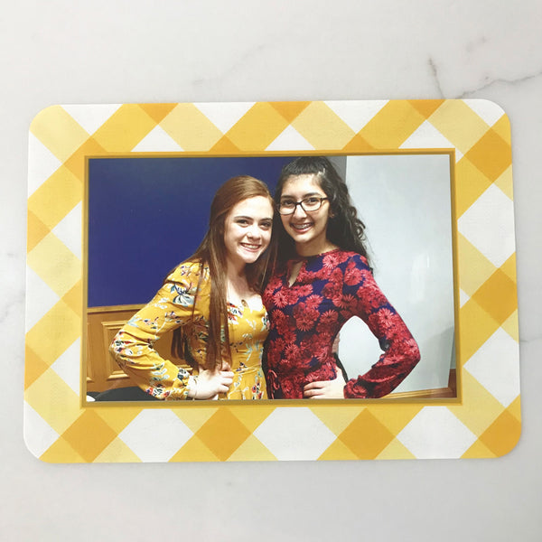 Buffalo Check Mustard Self-Stick Picture Frames Collection