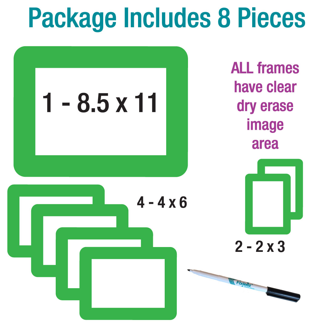 Solid Lime Green Dry Erase Adhesive Frames