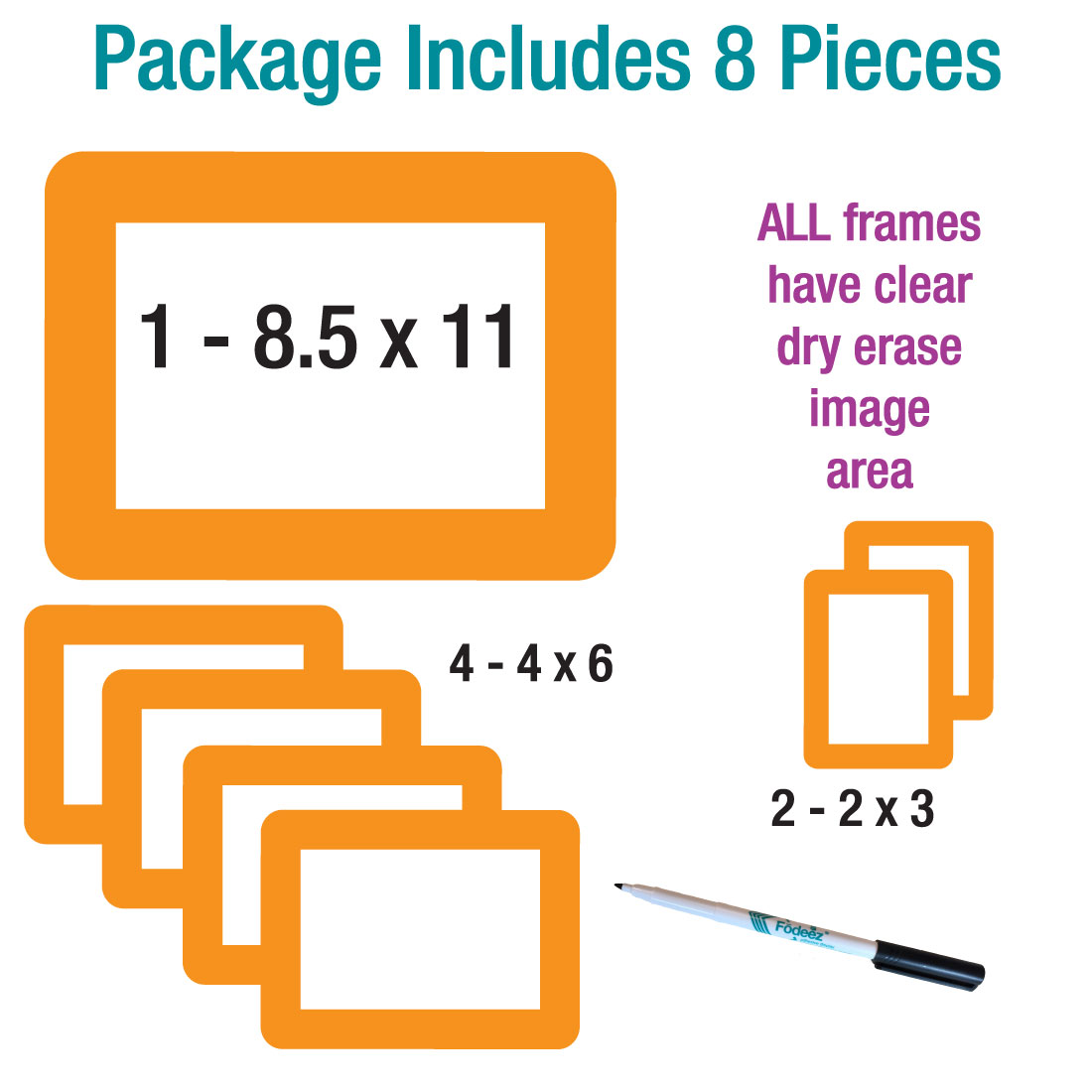 Solid Orange Dry Erase Adhesive Frames