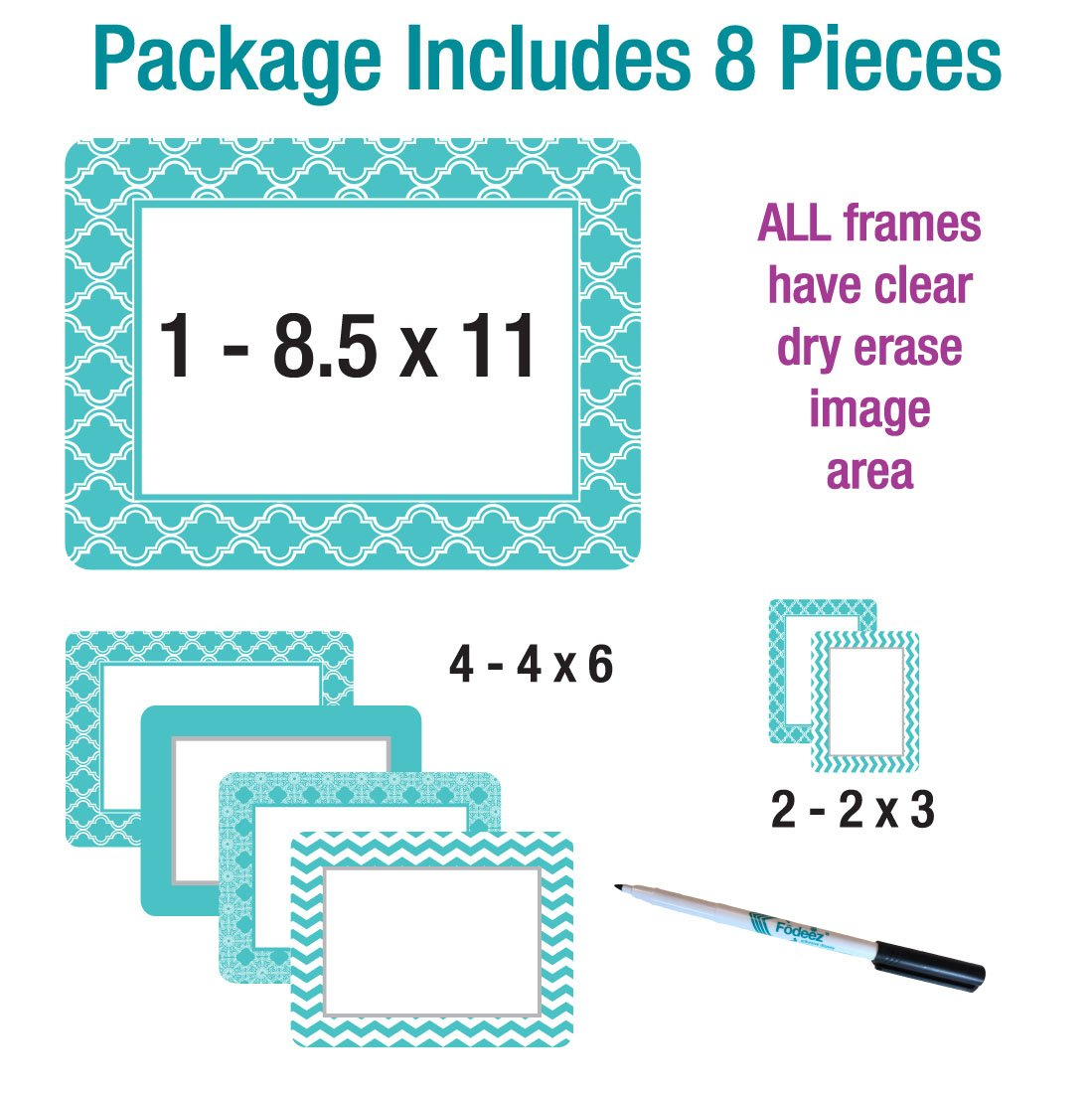 CLEARANCE Multi-Pack of Self-Stick Picture Frames in Coronado Patterns