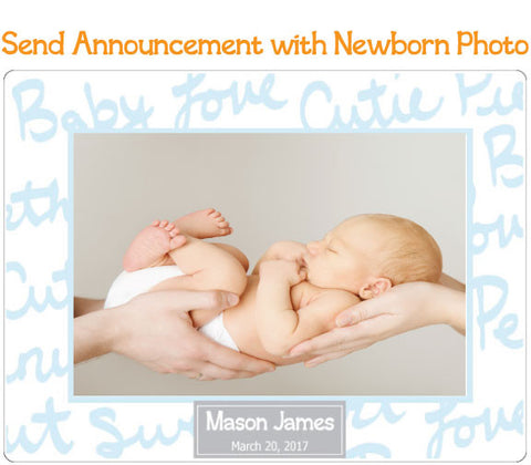 Boy Birth and New Baby Announcements - Text - Fodeez® Adhesive Display Frames / Dry Erase Boards  - 1