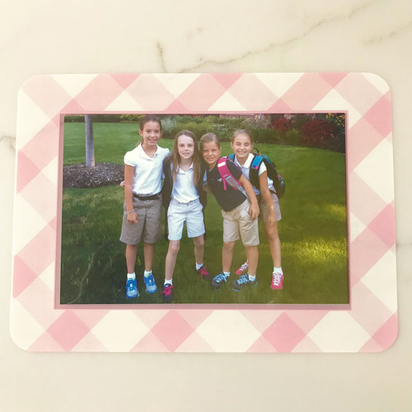 Buffalo Check Pink Self-Stick Picture Frames Collection
