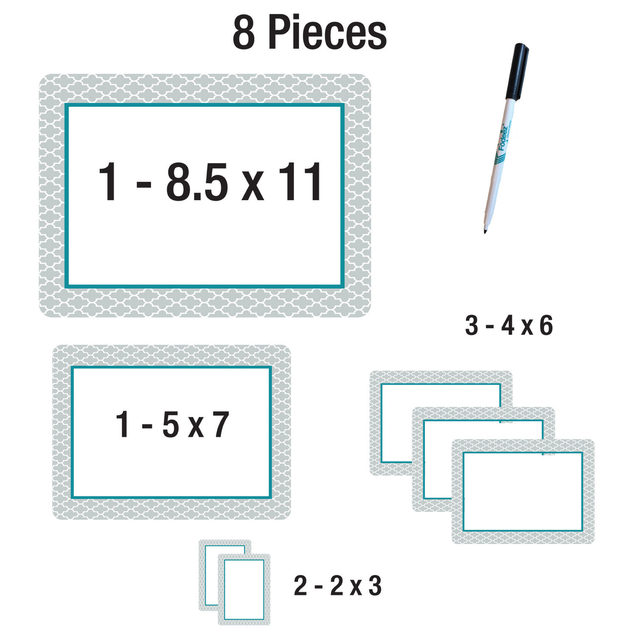 Dry Erase Adhesive Scheduler Multi-Pack - Shabby Chic - Fodeez® Adhesive Display Frames / Dry Erase Boards  - 6