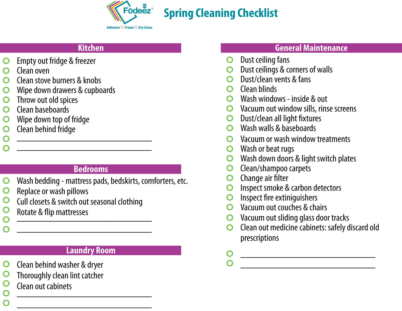 Free Download - Spring Cleaning Checklist