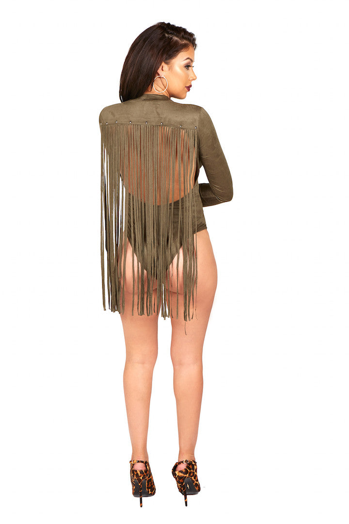 Her Wild Fringe Body Suit