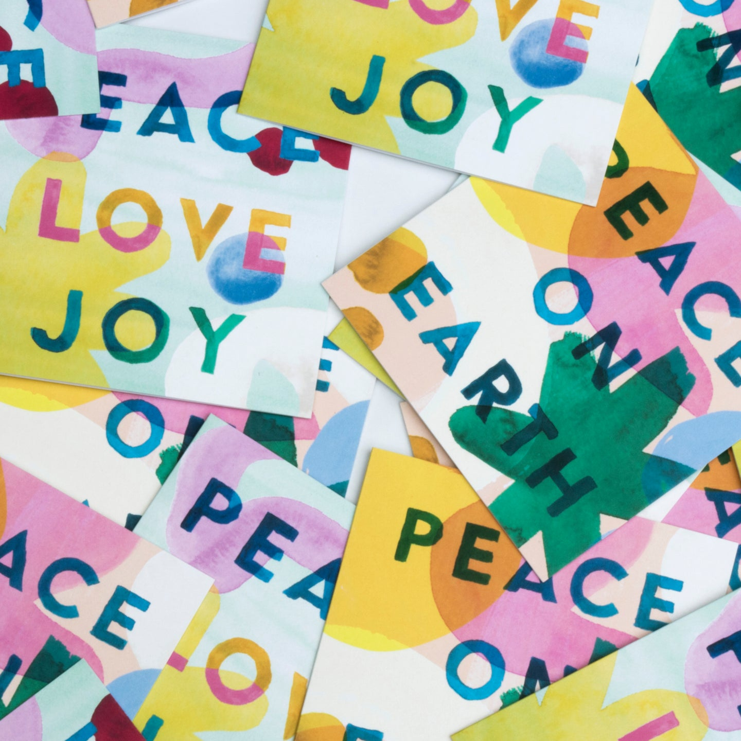 Artist print Holiday card set, colorful artist holiday card set, Peace on earth Holiday Card set, Peace love joy holiday card set, folded holiday card set