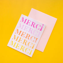 Load image into Gallery viewer, Merci thank you card set, thank you card 6 set, artist print card set, printed artist card set, Merci thank you cards
