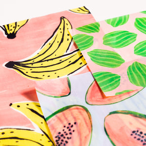 Beeswax Food Wrap In Fruit Print- 3 pack