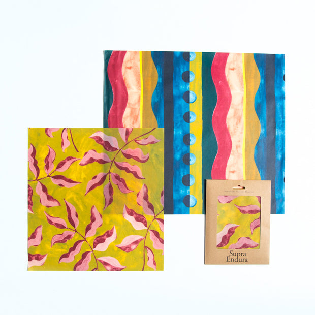 Beeswax Food Wrap 2 pack- Large/ Extra Large in Tropical print 1