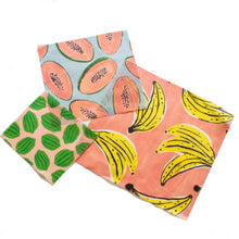 Load image into Gallery viewer, fruit print beeswax wrap set, Beeswax food wrap, natural wrap for food, alternative to plastic wrap, reusable wrap beeswax