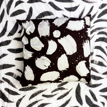 Load image into Gallery viewer, black and white pillow, artist pillow series, printed cotton pillow, black and white paint stroke pillow