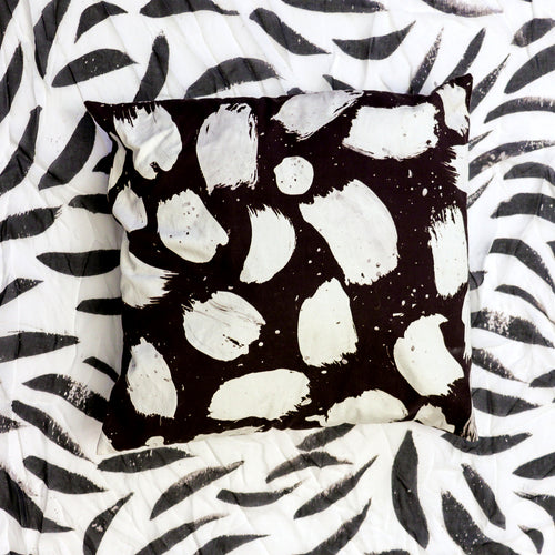 black and white pillow, artist pillow series, printed cotton pillow, black and white paint stroke pillow