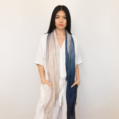 blue and natural watercolor ombre scarf, 100% modal by Supra Endura