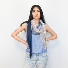 Load image into Gallery viewer, blue and natural watercolor ombre scarf, 100% modal by Supra Endura