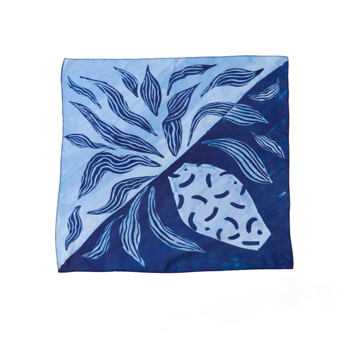 blue printed scarf 100% silk by Supra Endura
