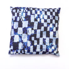 Load image into Gallery viewer, reverse side of black and white couch pillow, blue reverse