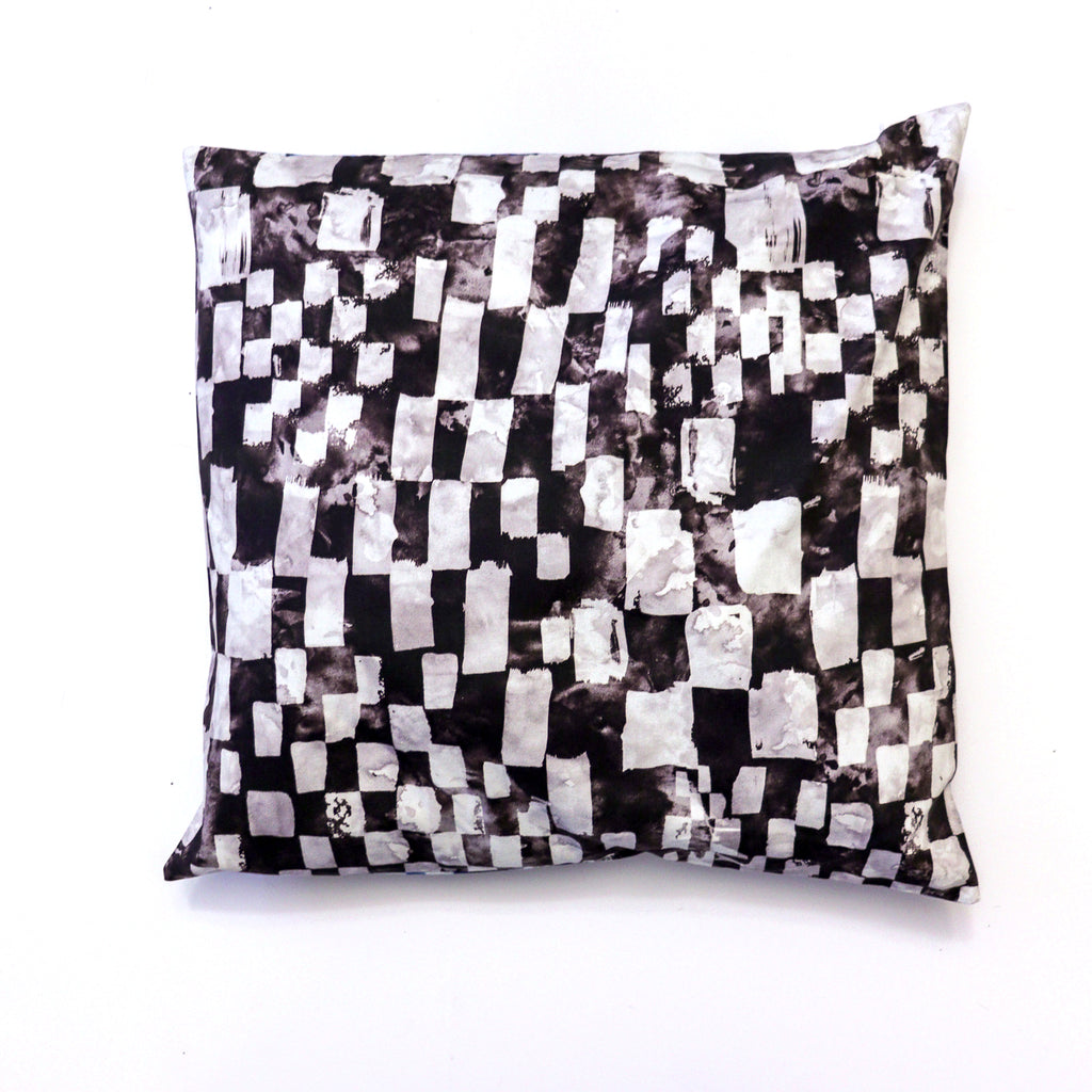 "Checkers Black/ Blue Cotton Pillow 18"" x 18"""