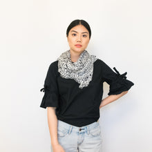 "Load image into Gallery viewer, black and white dotted 100% modal scarf 35"" x 71"" by Supra Endura"