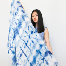 Load image into Gallery viewer, Modal scarf, long scarf blue, tie dye