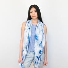 Load image into Gallery viewer, blue tie-dye long scarf by Supra Endura, 100% modal