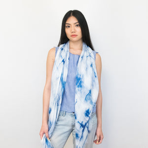 blue tie-dye long scarf by Supra Endura, 100% modal