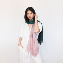Load image into Gallery viewer, Pink and green watercolor ombre scarf 100% modal by Supra Endura