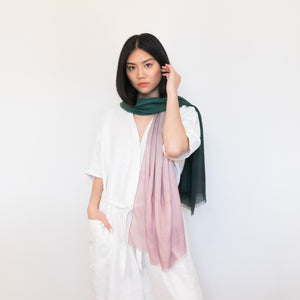 Pink and green watercolor ombre scarf 100% modal by Supra Endura