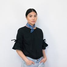 Load image into Gallery viewer, cotton handkerchief, how to wear cotton handkerchief, printed scarf, printed handkerchief, Supra Endura, blue handkerchief