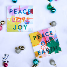 Load image into Gallery viewer, Artist print Holiday card set, colorful artist holiday card set, Peace on earth Holiday Card set, Peace love joy holiday card set, folded holiday card set