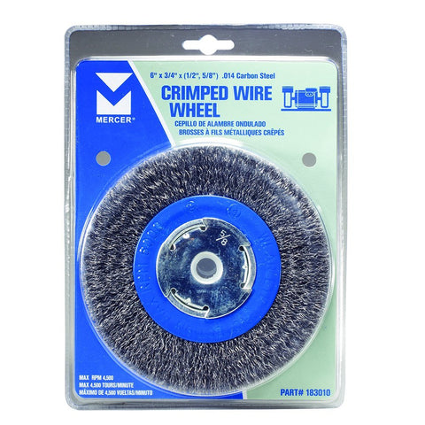 "Mercer Industries 183010 Crimped Wire Wheel, 6"" x 3/4"" x 2"" (1/2"", 5/8""), For Bench/Pedestal Grinders"