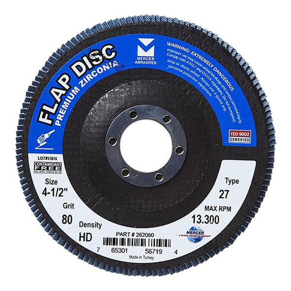 "Mercer Industries 262080 Zirconia Flap Disc, High Density Type 27, 4-1/2""x 7/8"" Grit 80, 10 Pack"