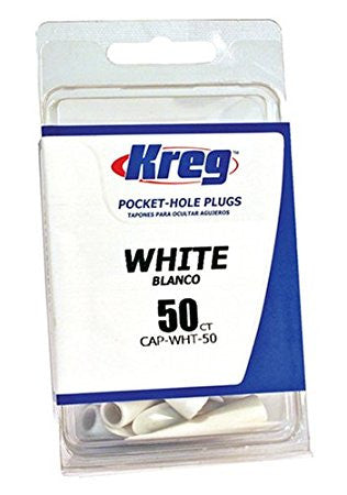 Kreg CAP-WHT-50 White Plastic Plugs 50-Count